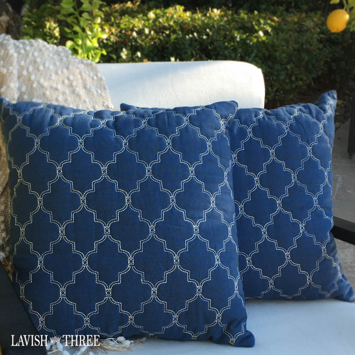 """Lattice on Blue"" pillow pair"