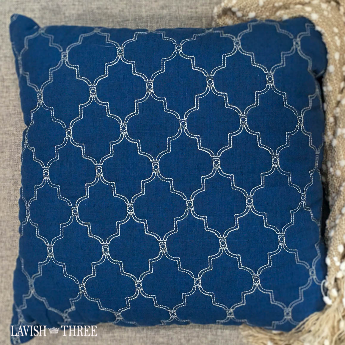 nautical blue navy accent throw pillow lavish three 3
