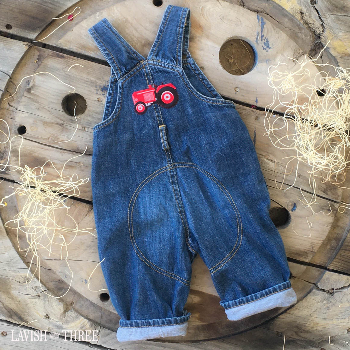 Denim overalls baby boy tractor patch lavish three 3