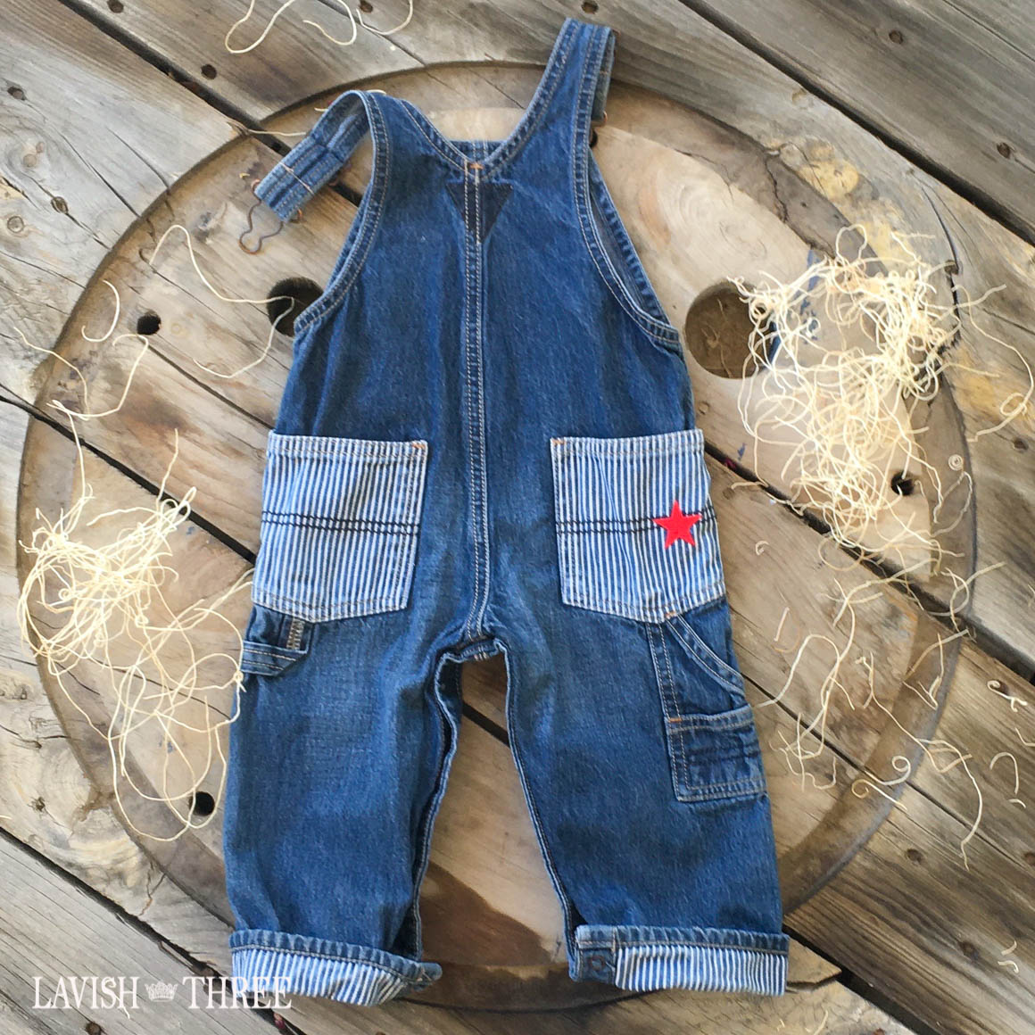Denim striped overalls tractor patch baby boy Lavish three 3