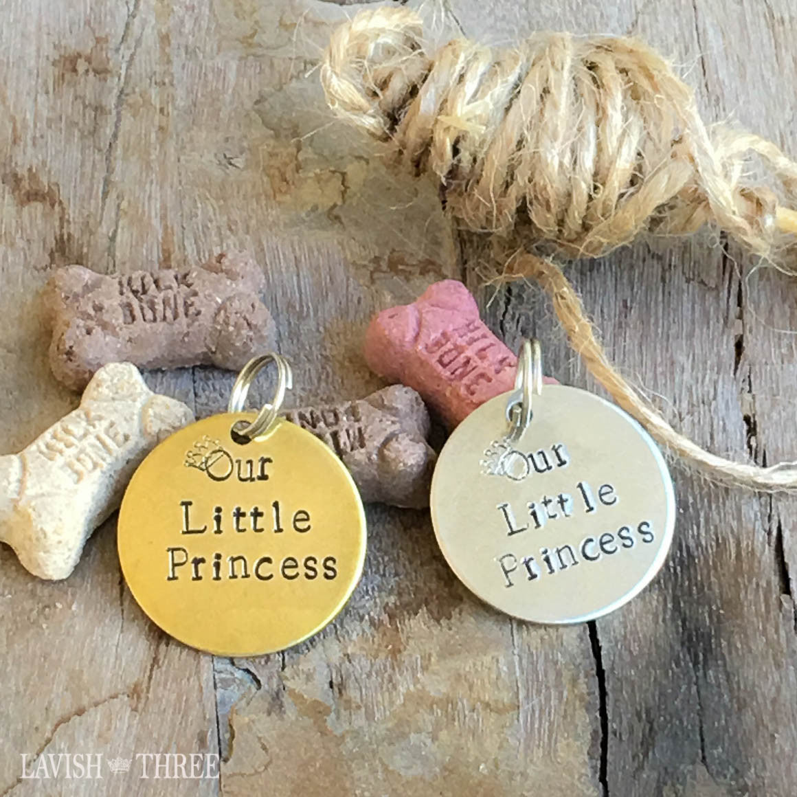 Our little princess dog, cat lover hand stamped pet tag, brass or nickel