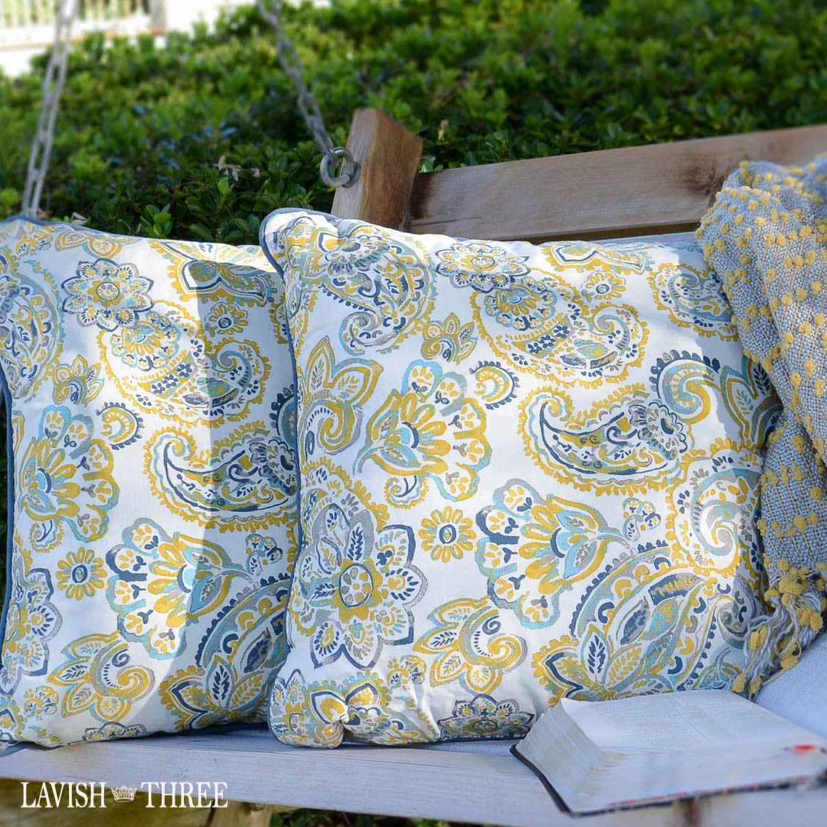 Paisley throw accent decorative pillow set yellow white blue gray