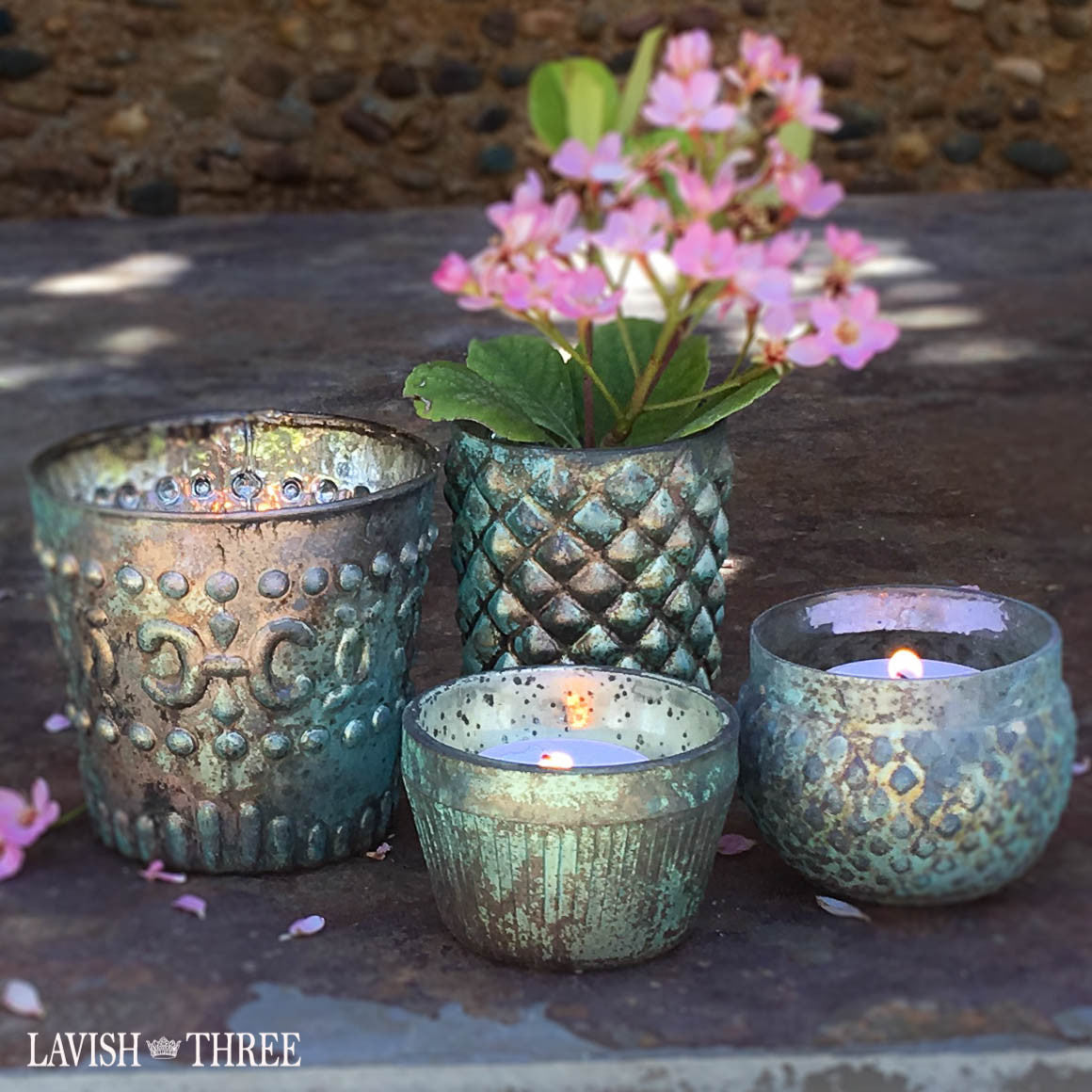 patina blue mercury glass votive candle holder set lavish three 3