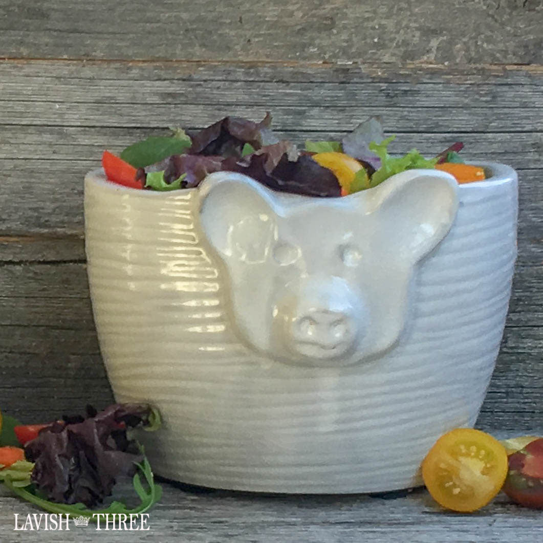 Pig pot salad bowl dish garden planter lavish three 3