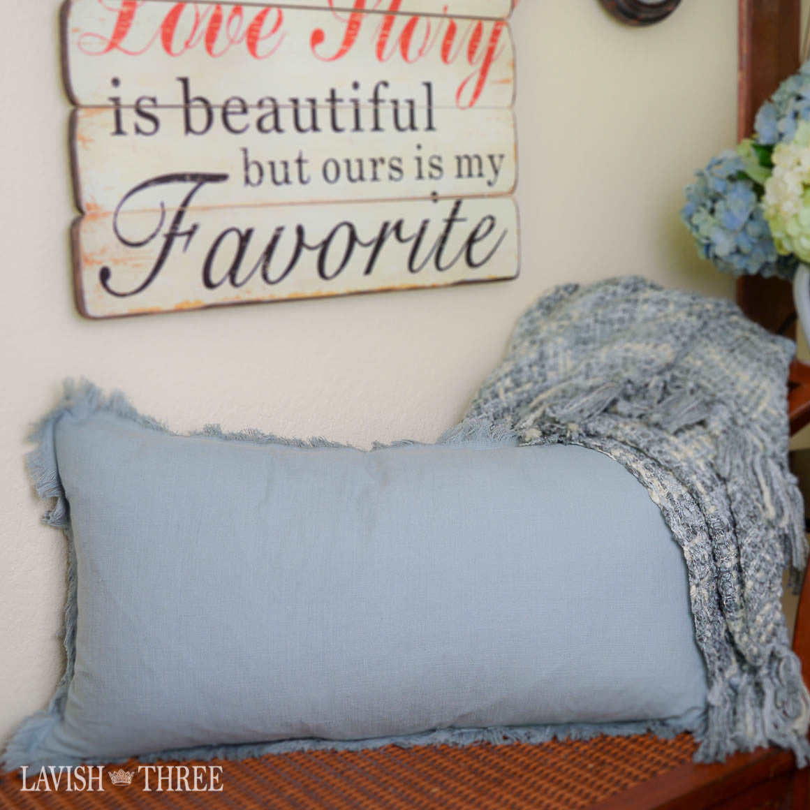 Slate blue linen-like oblong pillow with fringe