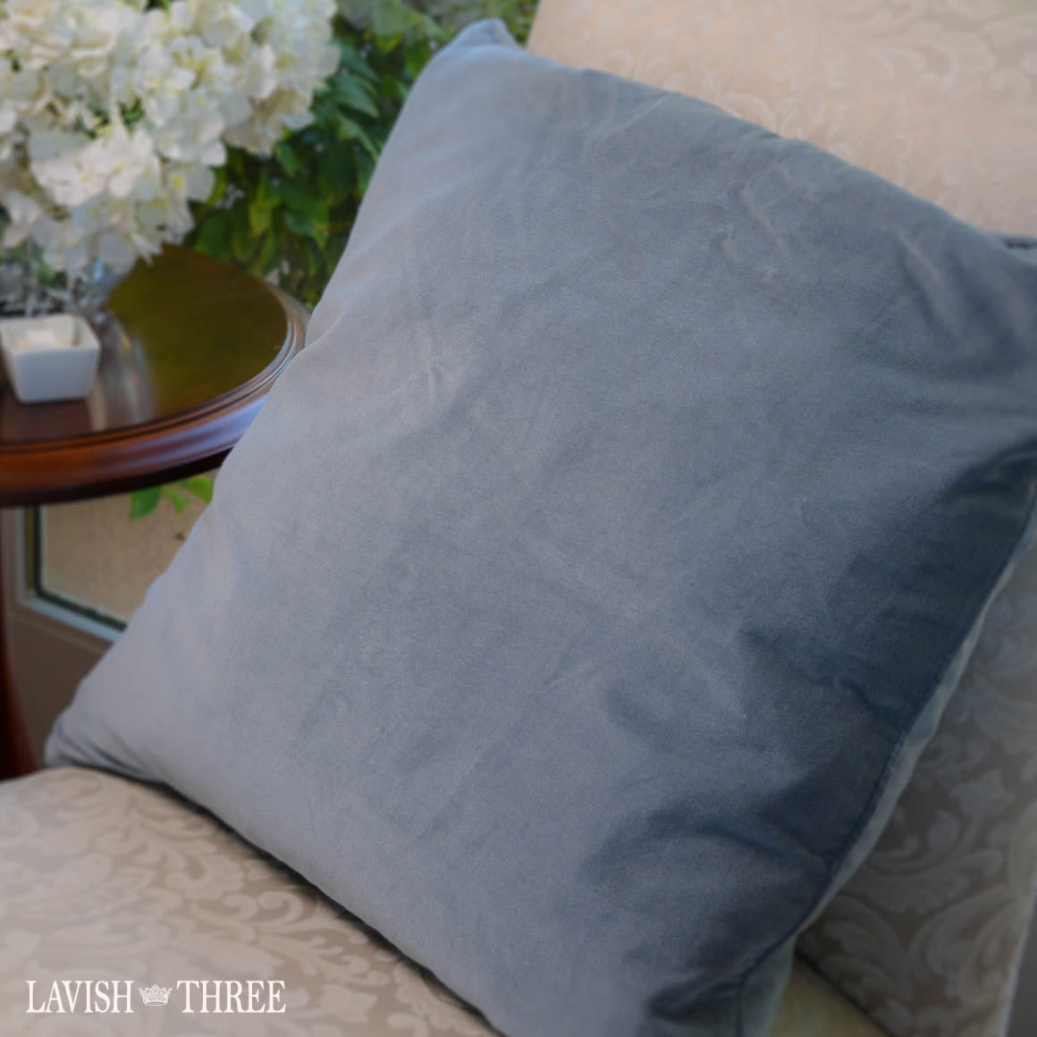 Steel blue velvet pillow lavish three 3