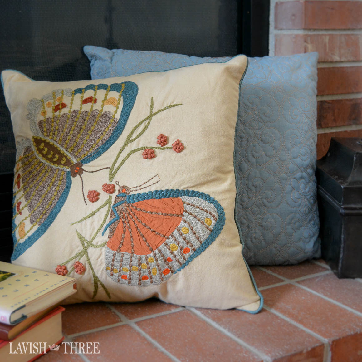 Butterfly in blue embroidered applique decorator throw pillow set