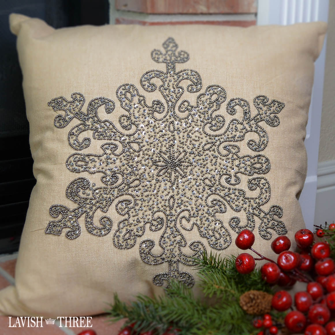 Silver metallic beaded snowflake burlap pillow christmas lavish three 3