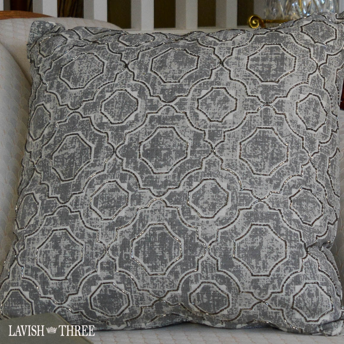 Geometric grey elegant accent throw decorator pillow