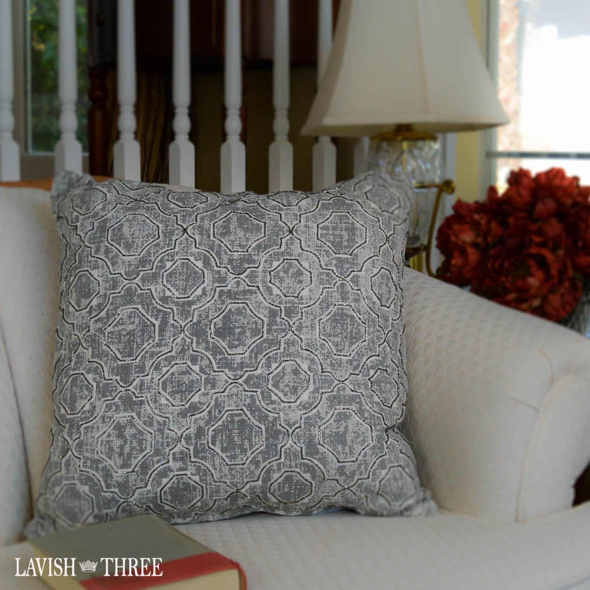 Geometric Gray beaded elegant throw accent pillow