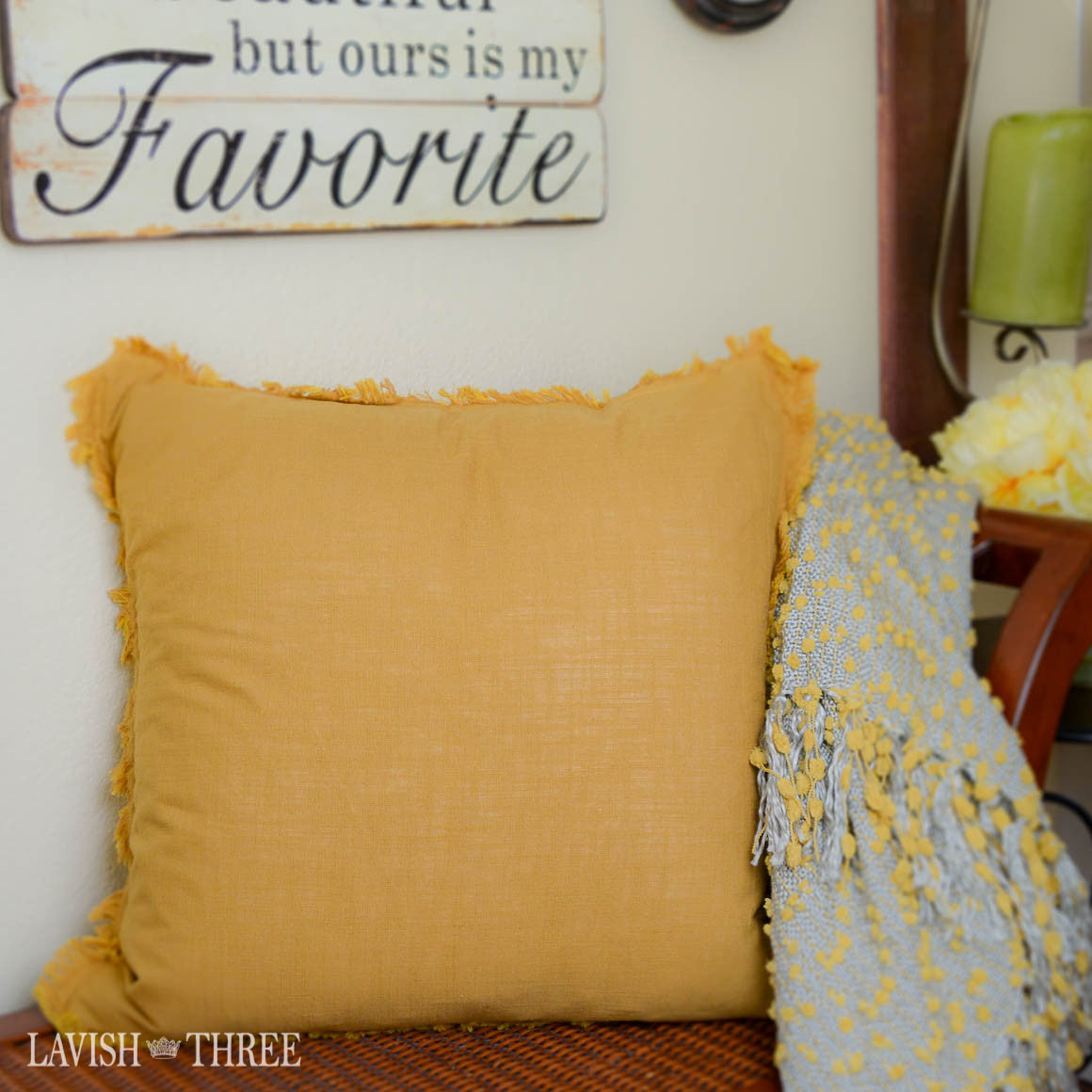 Shades of gold yellow square accent decorator throw pillow