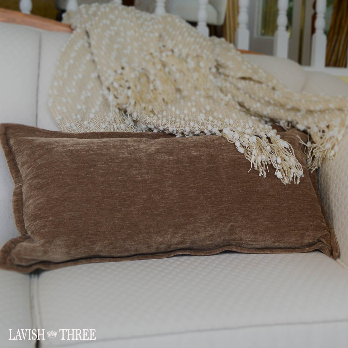 Taupe brown velvet oblong accent throw decoator pillow lavish three 3