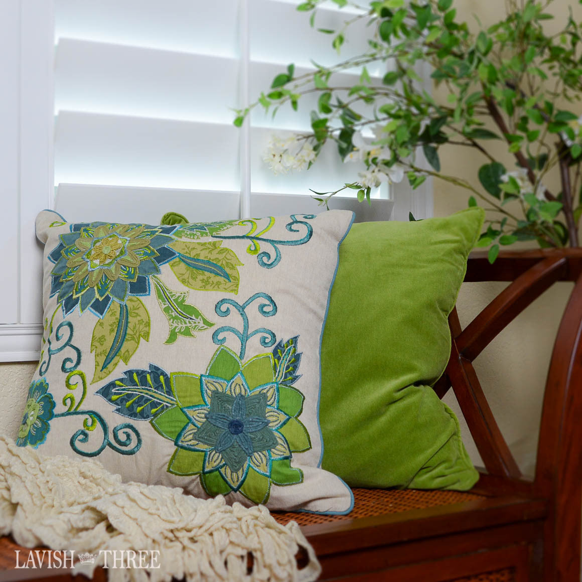 Sage green velvet square pillow with teal floral pillow