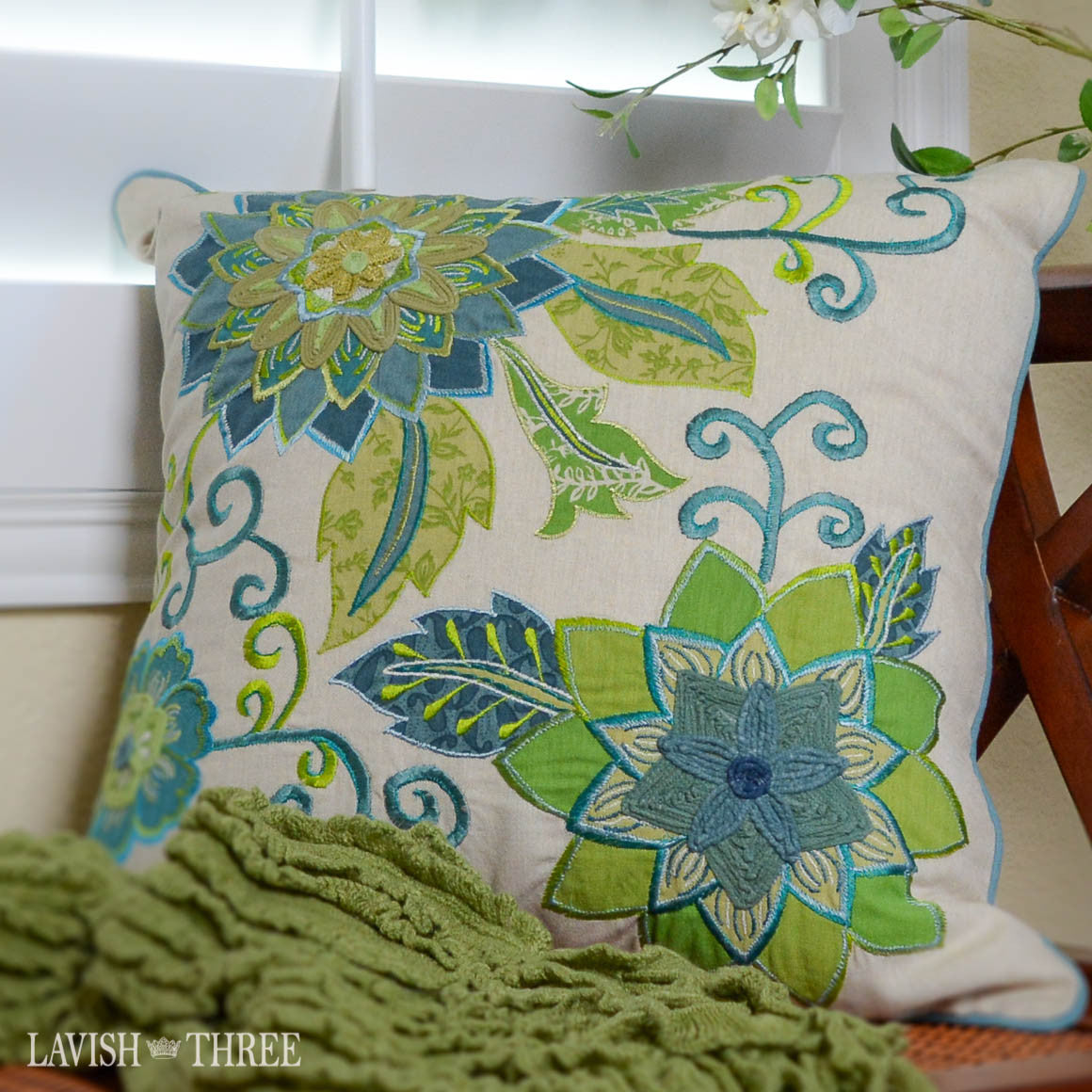 Teal green and Blue floral flower vine accent throw pillow lavish three 3