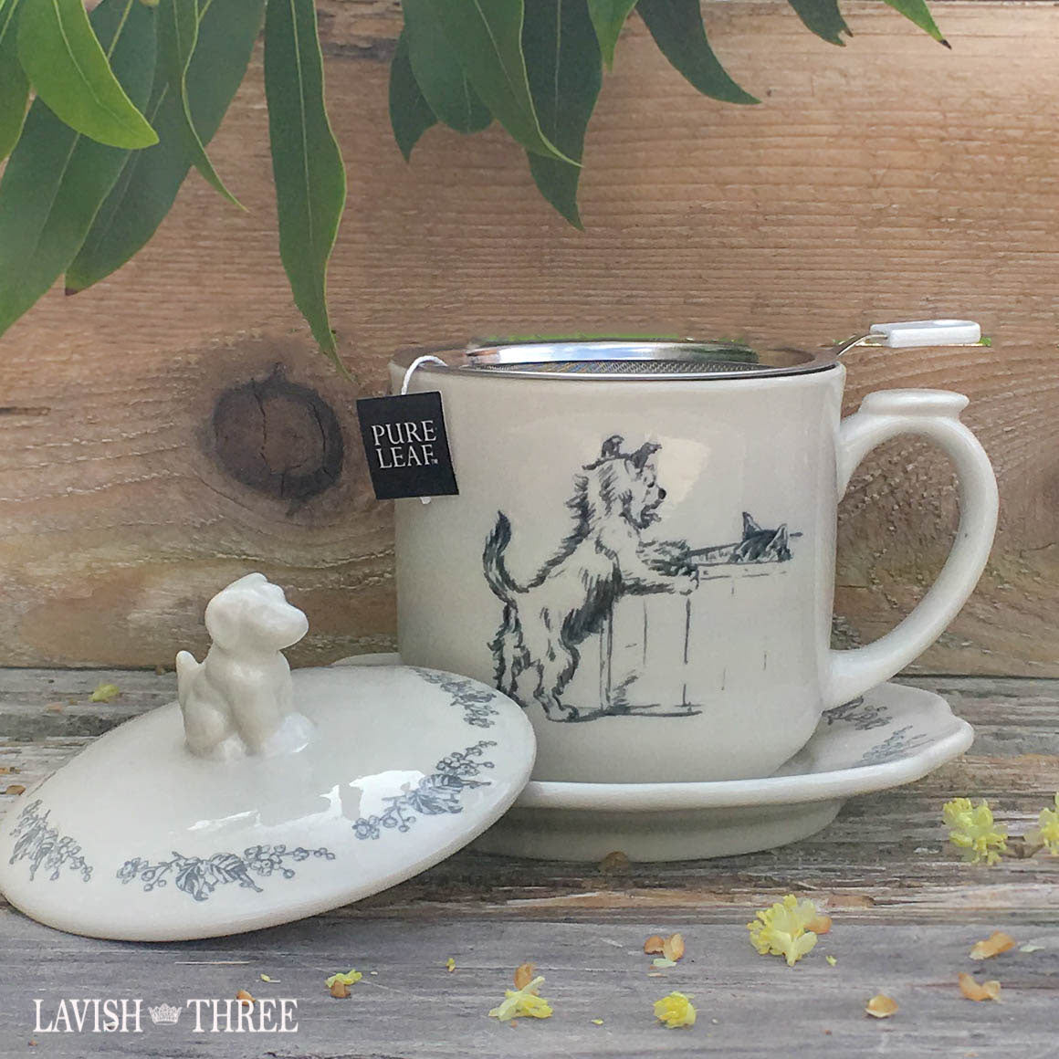 Puppy dog lover tea set with cup saucer and strainer Lavish Three 3