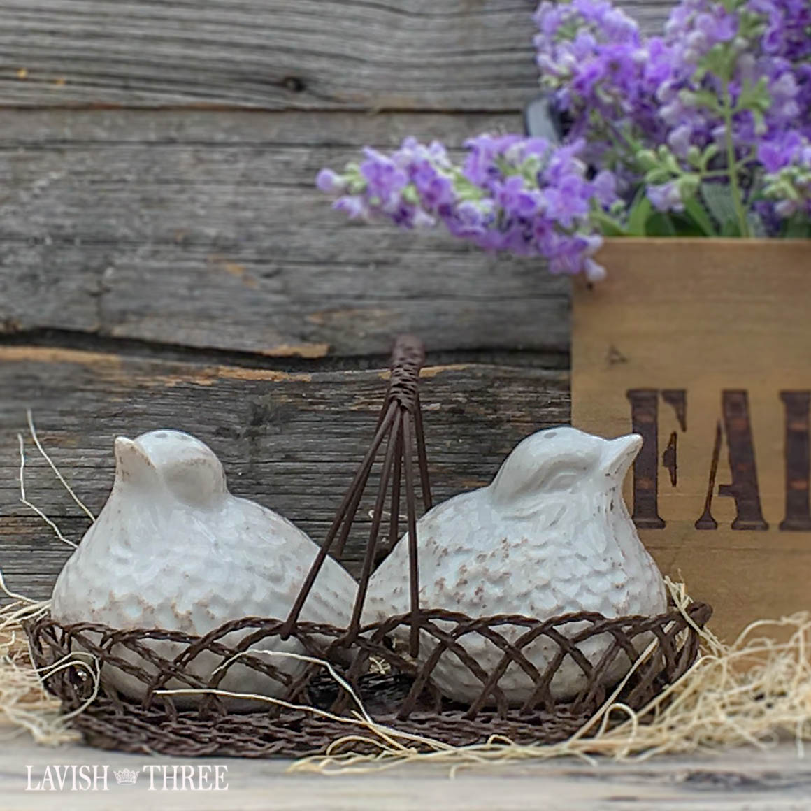 salt and pepper shaker bird in basket nest lavish three 3