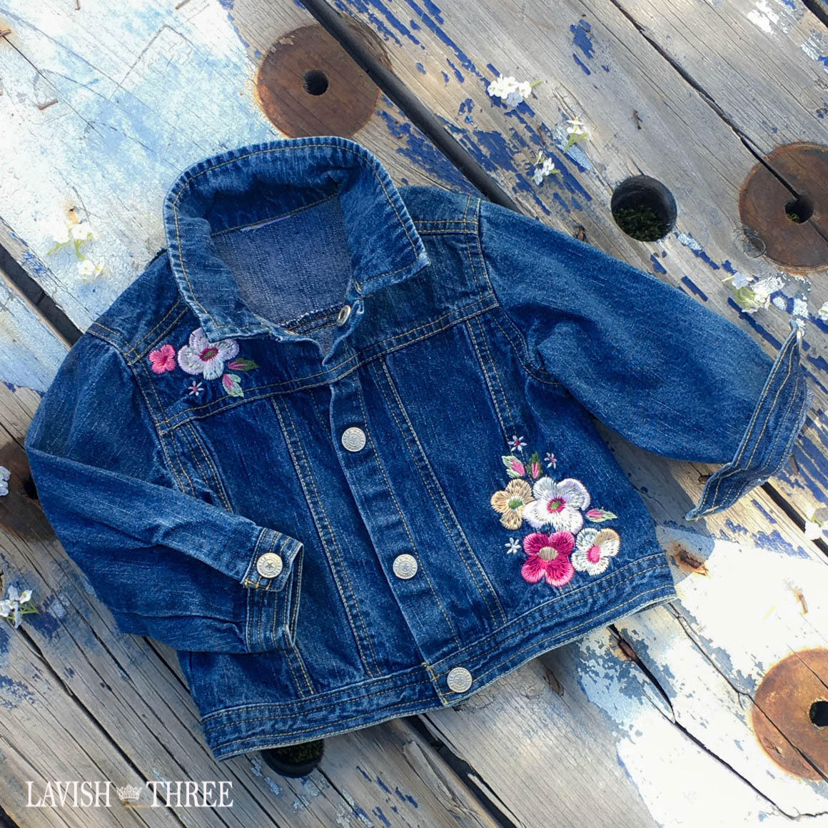 Flower patch denim jean jacket girl lavish three 3