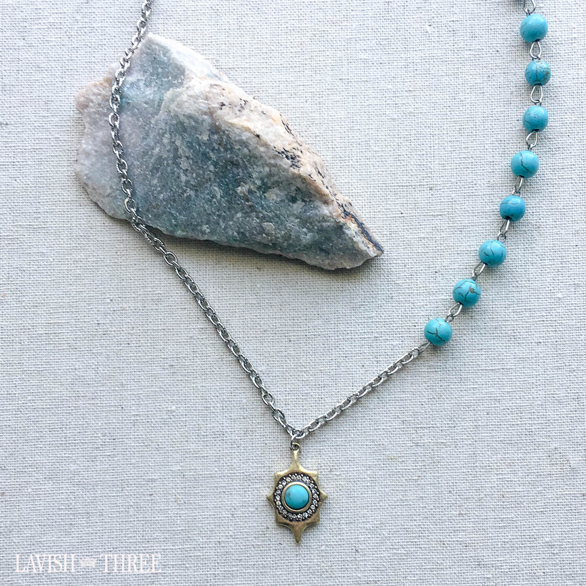 Turquoise and silver chain with gold crystal pendant necklace one of a kind jewelry lavish three 3