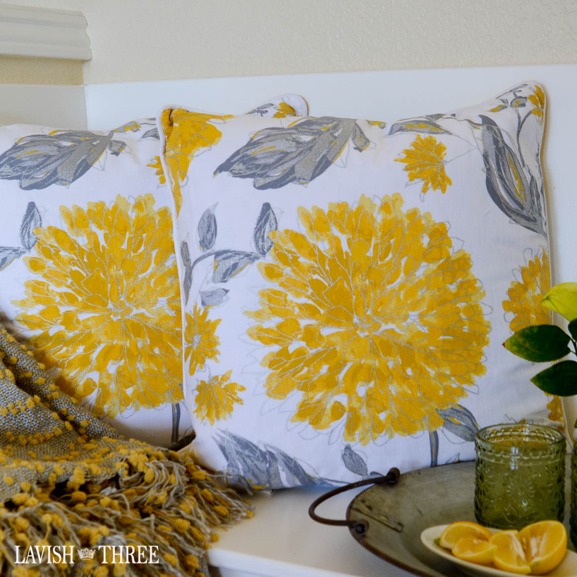 Bright Yellow, white and grey floral accent throw pillow set lavish three 3