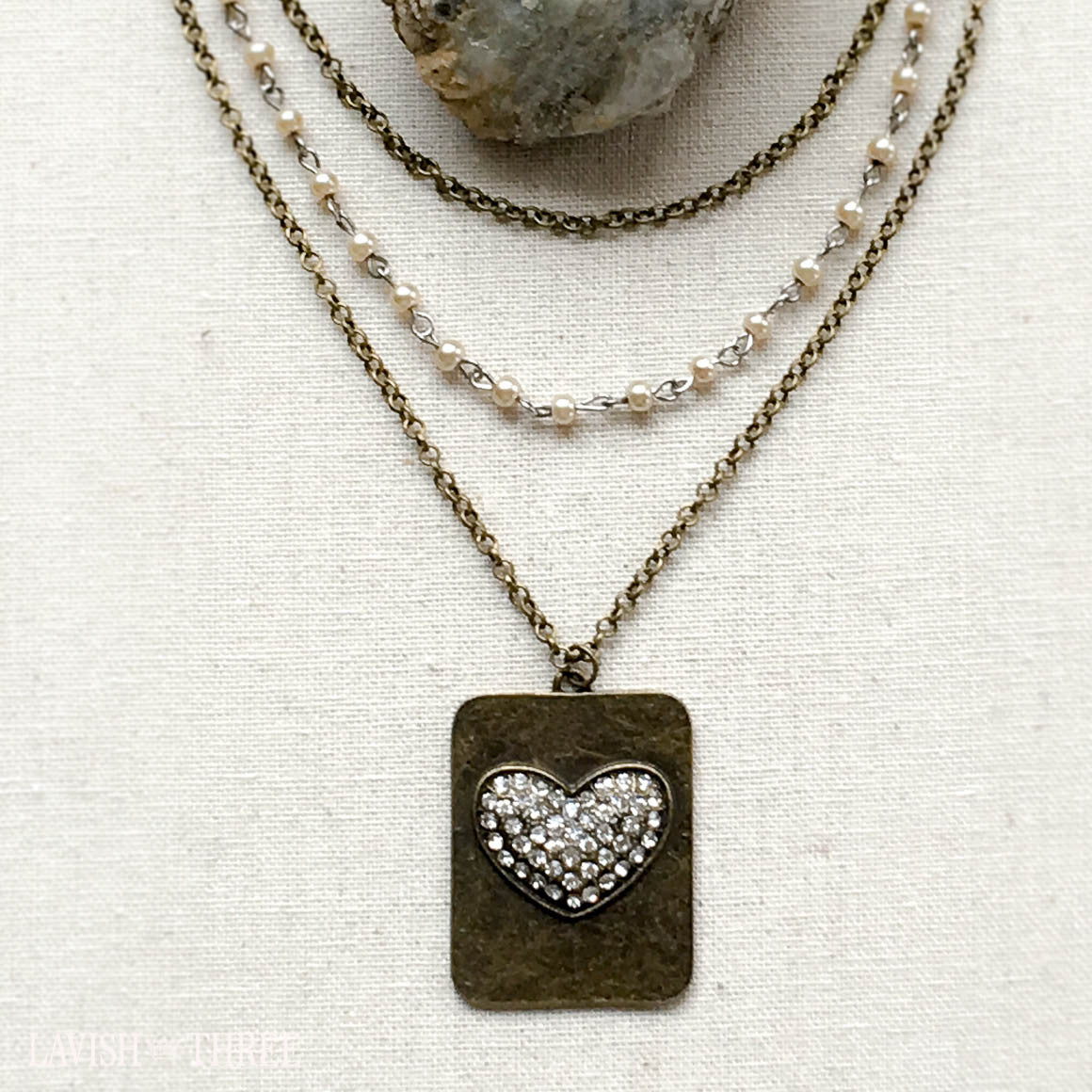 triple strand antique gold and pearl necklace, dog tag heart pendant, Lavish Three