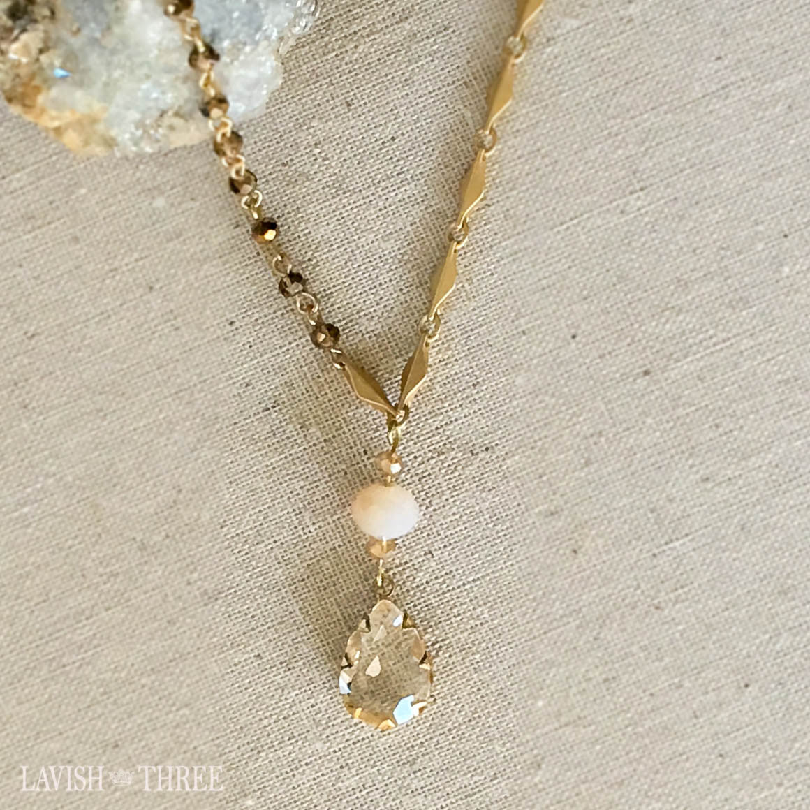 brushed gold short necklace, large crystal teardrop pendant, Lavish Three