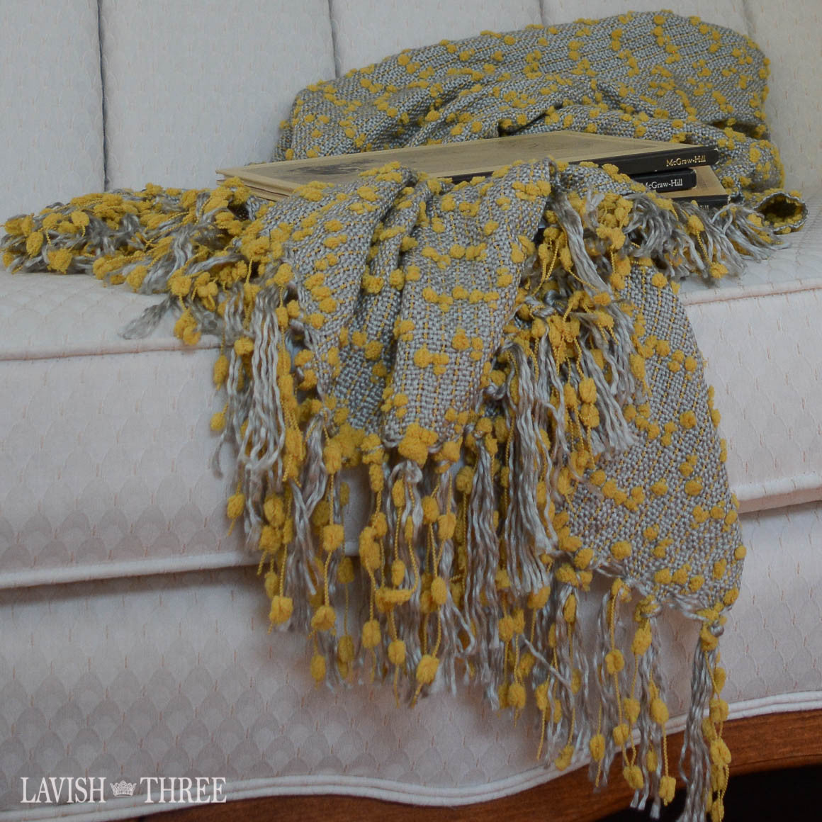 Petite pompom blanket throws with fringe in yellow or vanilla ...