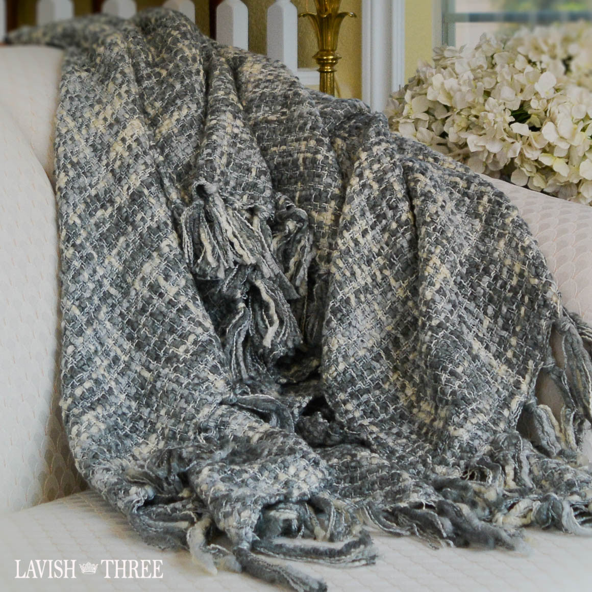 Soft woven decorator throw blanket in gray and ivory lavish three 3