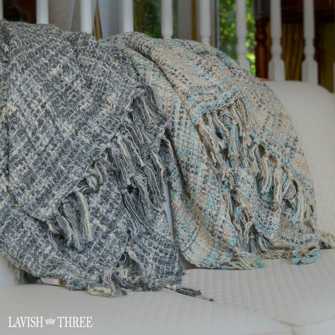 Soft woven throw blanket in blue, grey, ivory white fringe