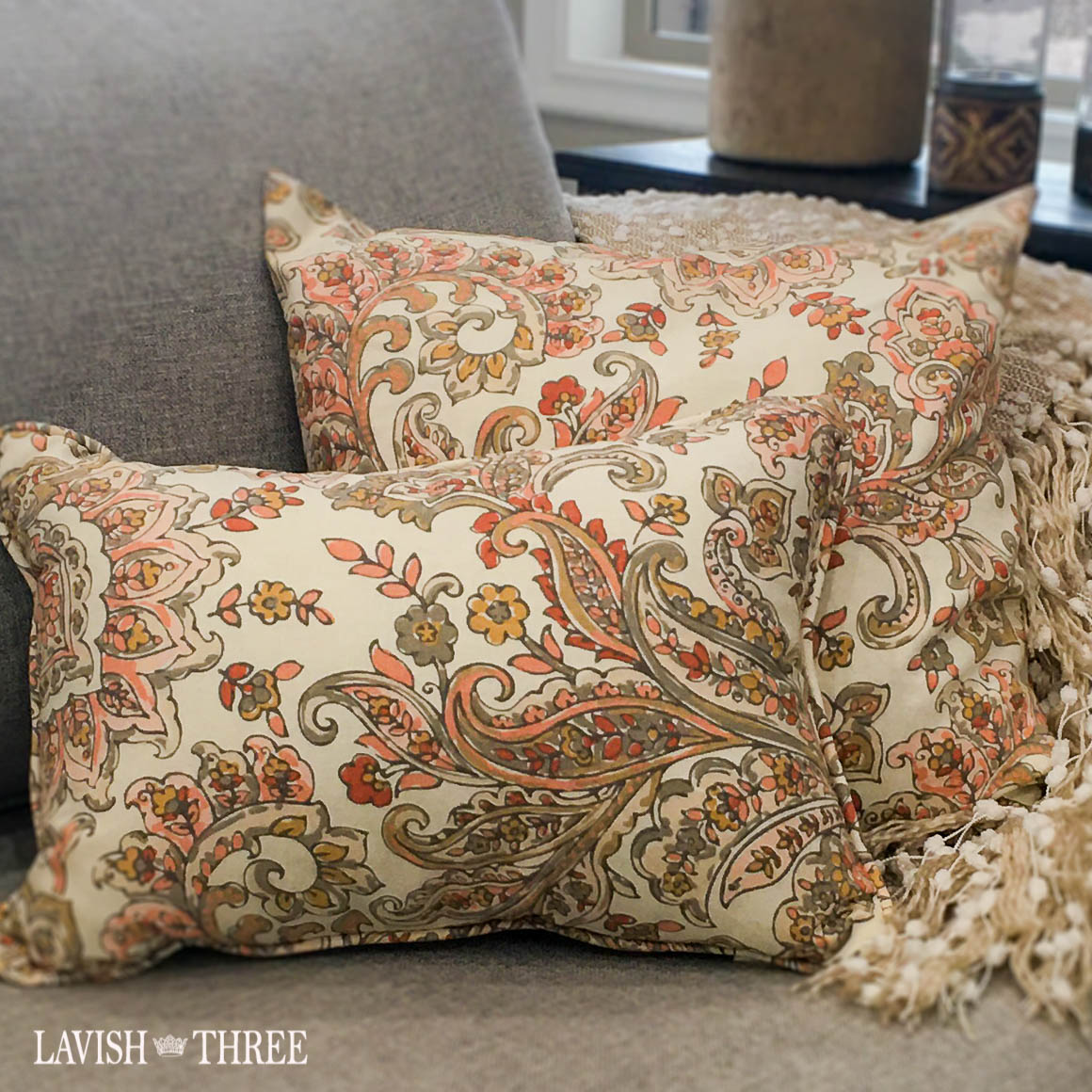 Timeless paisley orange tan pillow accent throw Lavish three 3