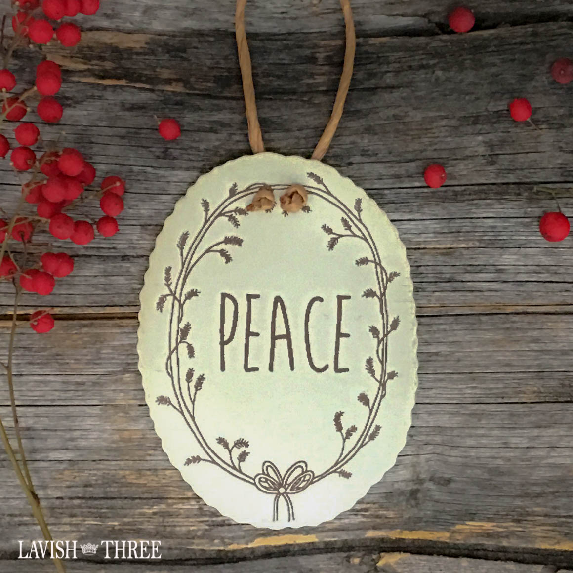 Tin holiday christmas tree ornaments gift tag in Noel, Peace & Joy lavish three 3