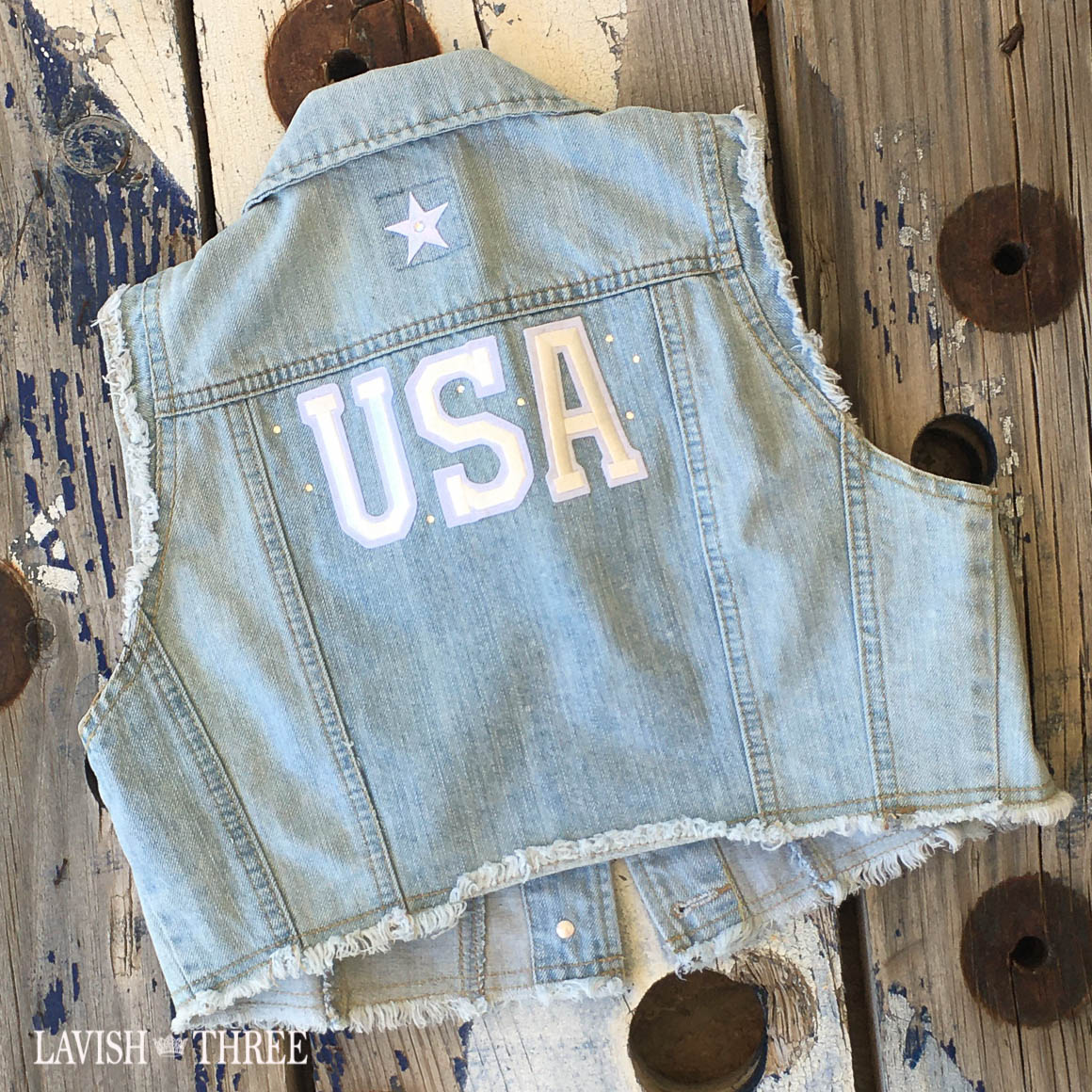 Denim vest jacket USA light lavish three 3