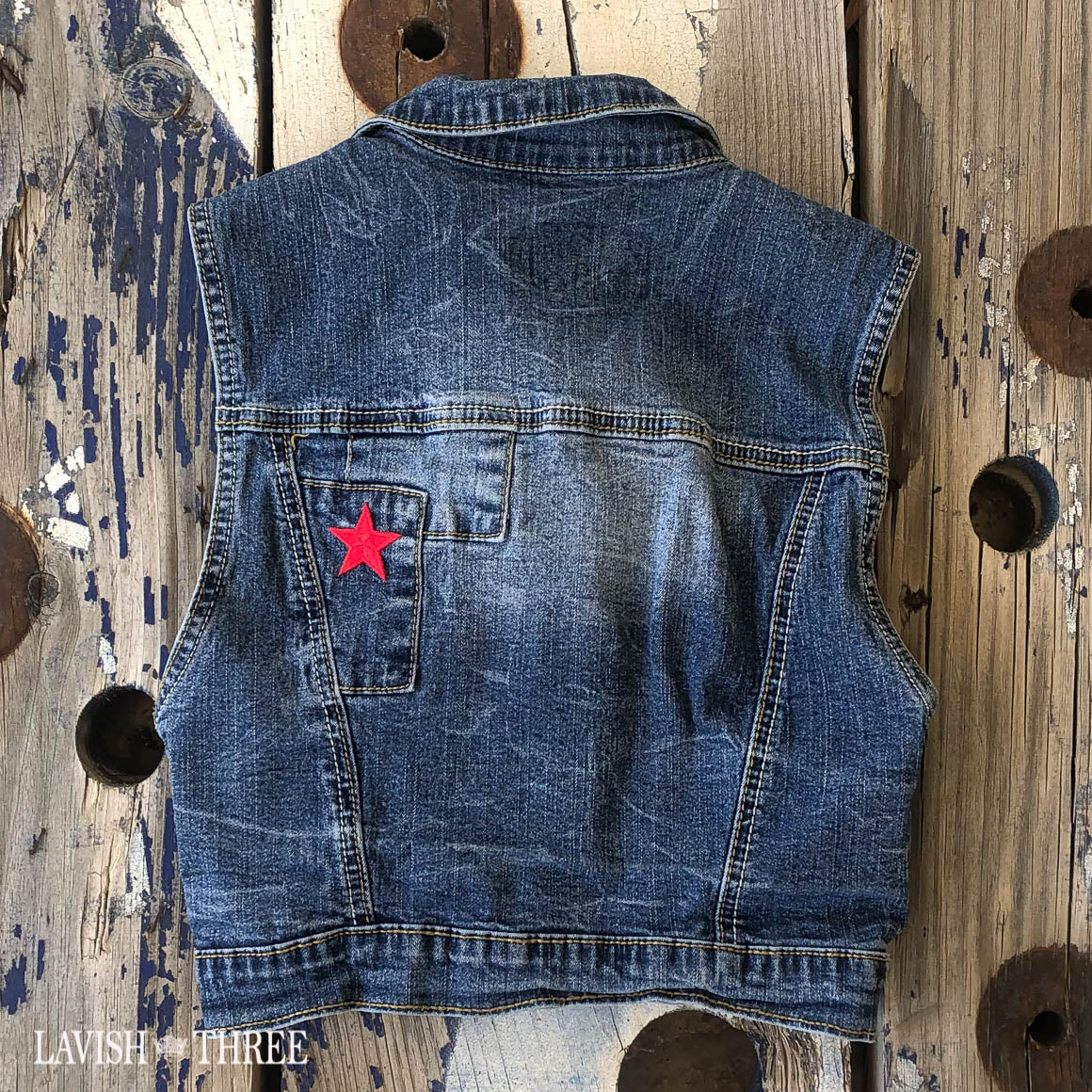 Denim USA tattered flag vest girls american lavish three 3