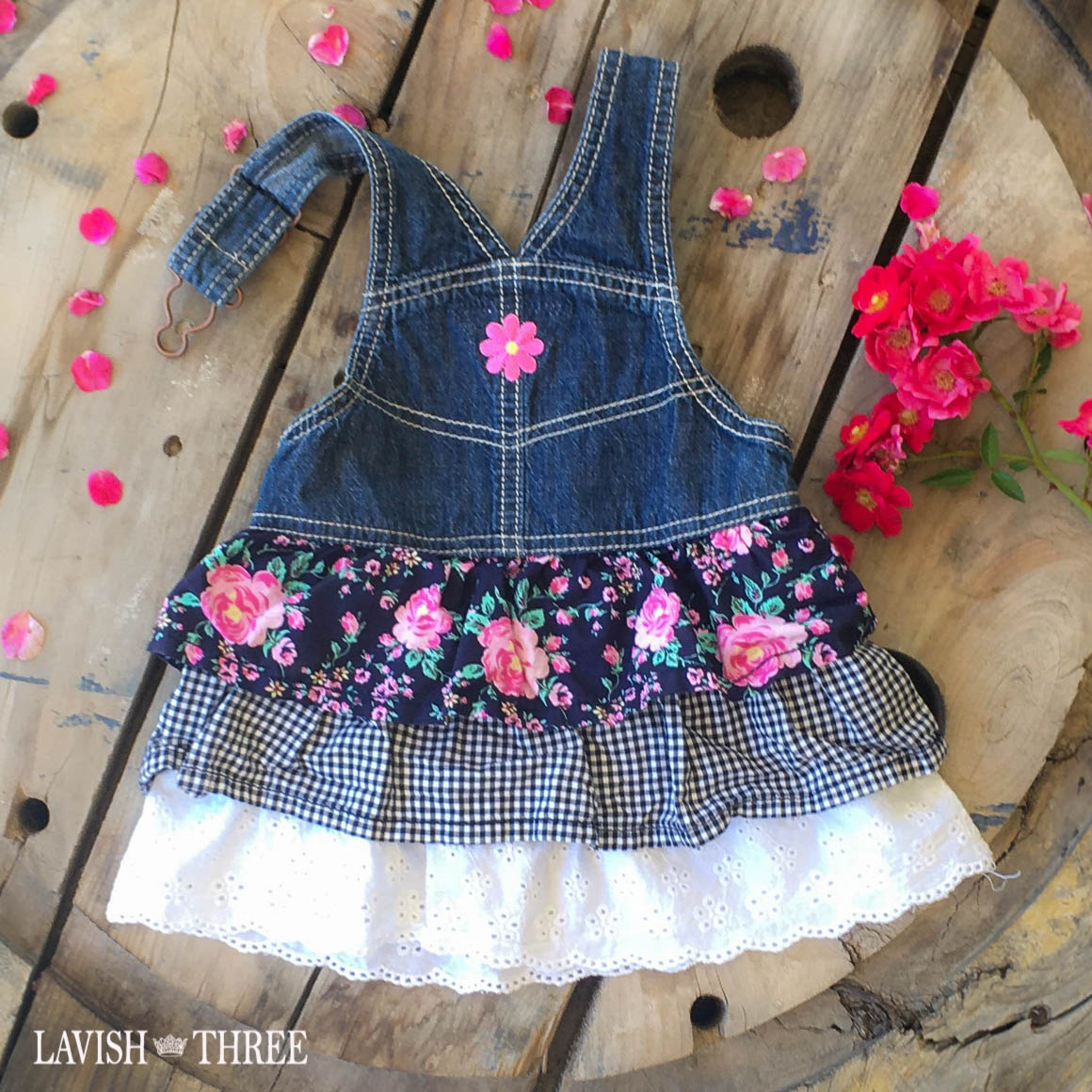 Denim flower overall dress baby girl Lavish three 3