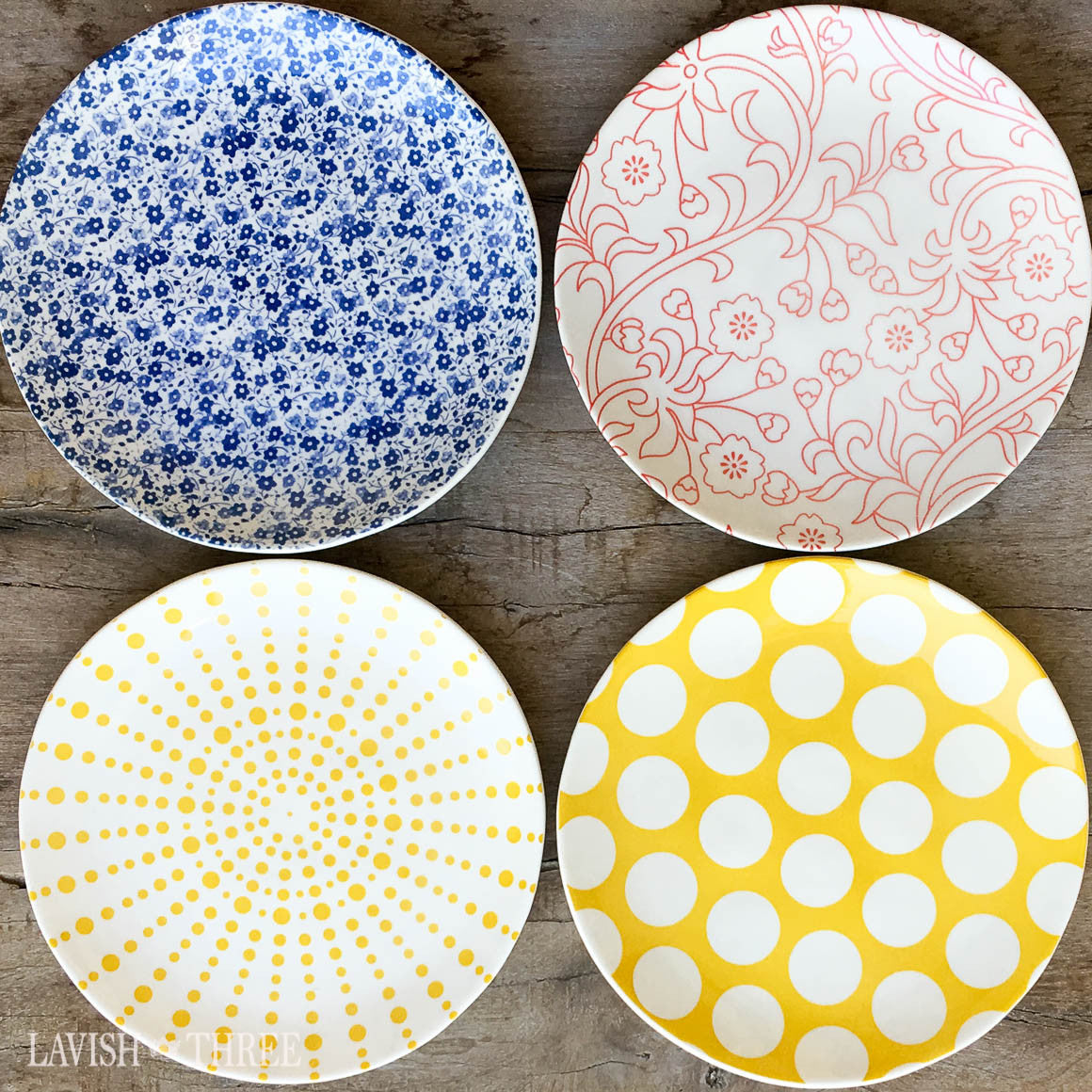 Eclectic farmhouse country style dessert salad side plate colorful pattern design lavish three 3