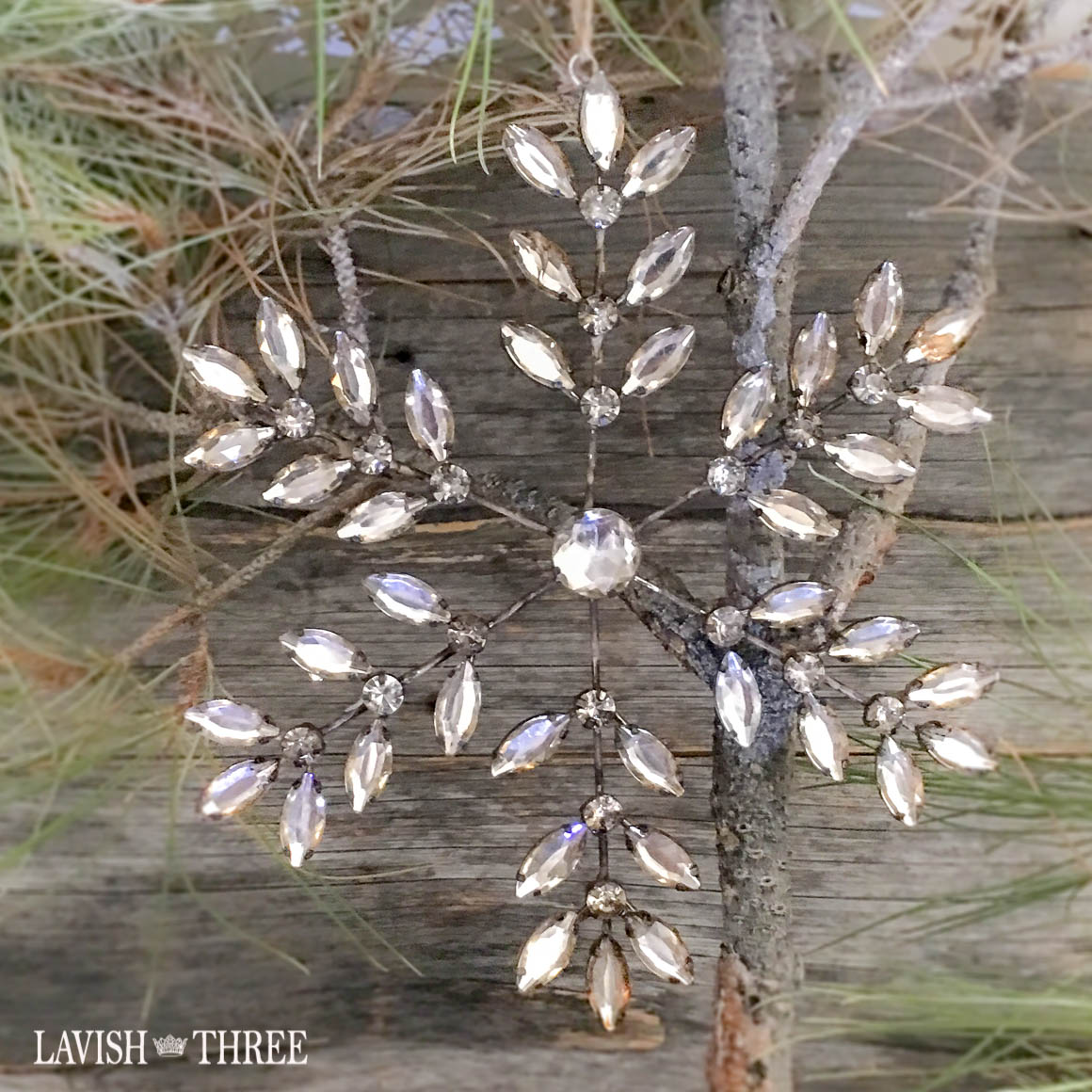 Large crystal snowflake ornament Lavish three 3