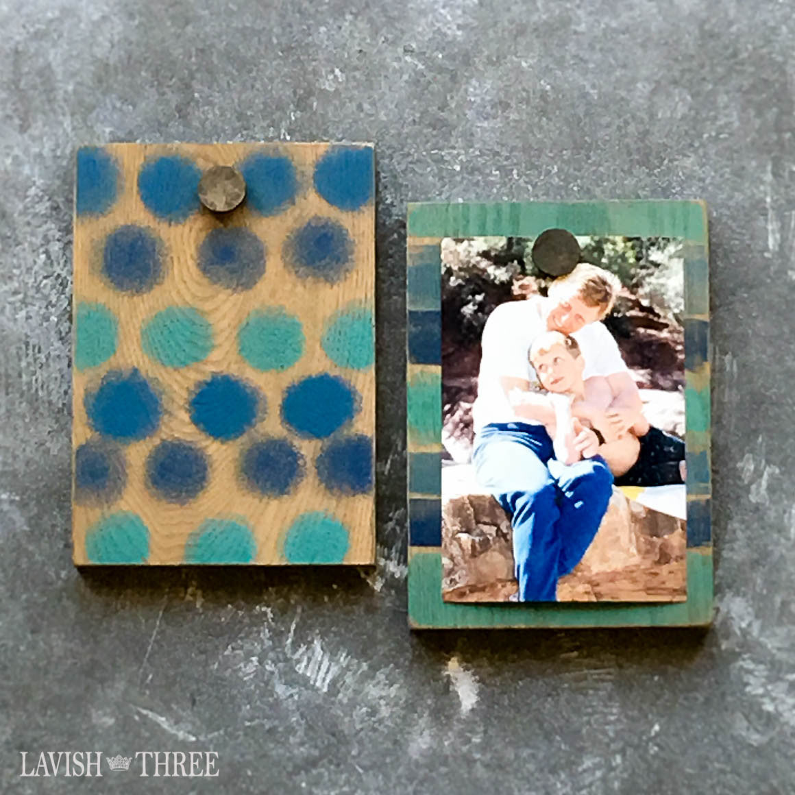 Hand painted wood block photo display blue picture holder