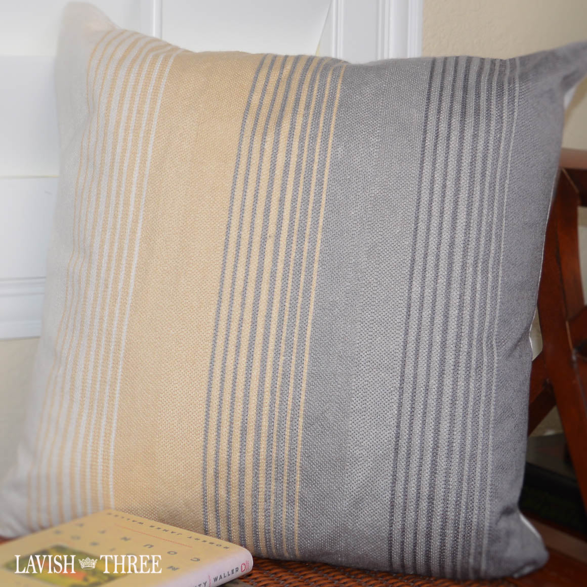 yellow gray striped hombre accent decorative throw pillow lavish three 3