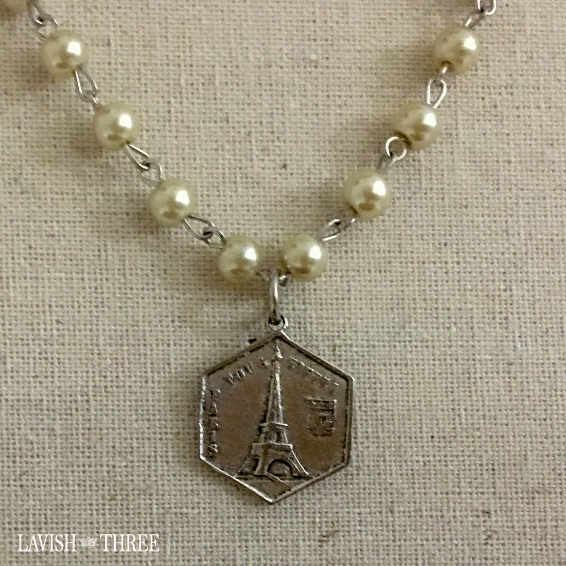 Paris silver eiffel tower charm on pearl necklace Lavish three 3
