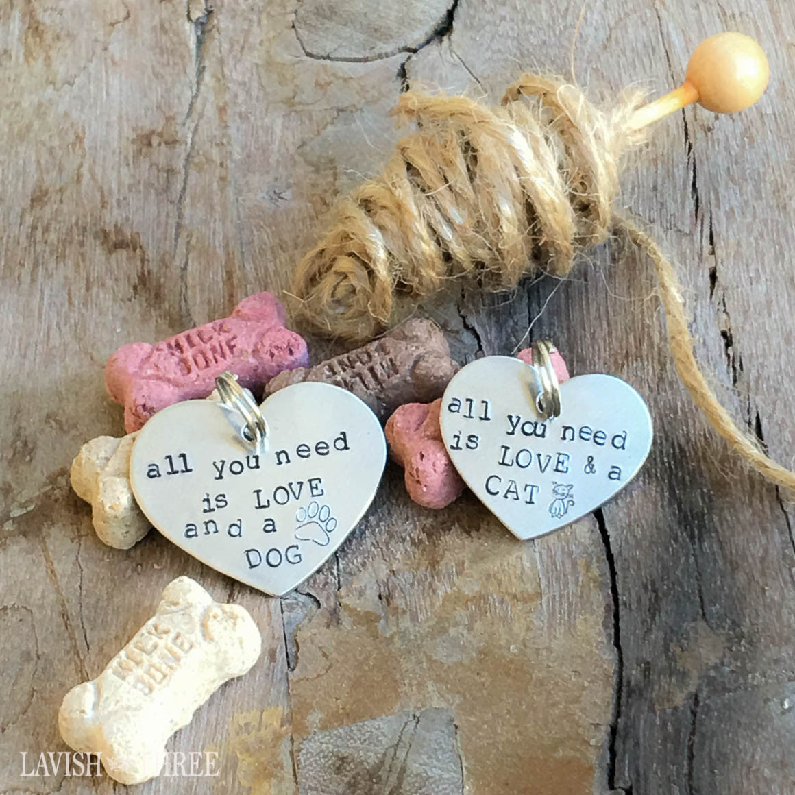 All you need is love and a dog or cat, hand stamped pet tag Lavish three 3