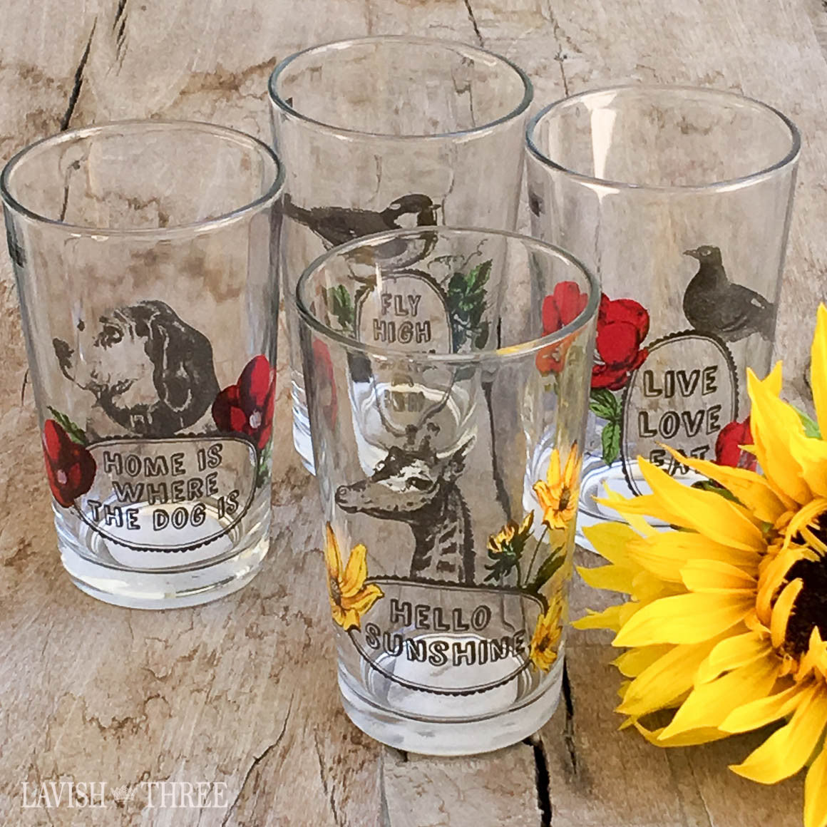 "4"" Juice glasses with animal sayings set giraffe, dog bird"