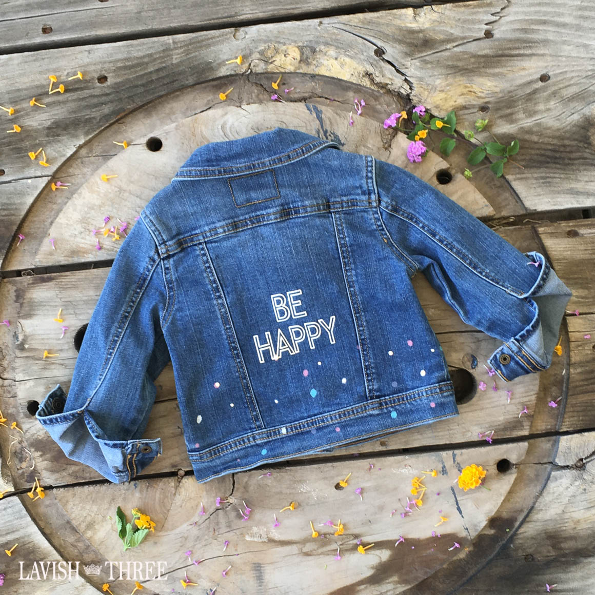 """Be HAPPY"" polka-dot splatter denim jacket"