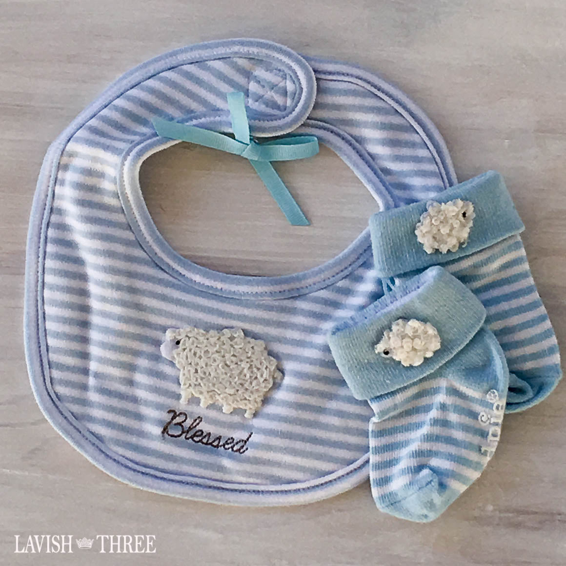 Blessed lamb baby boy pink stripe bib and socks gift set lavish three 3