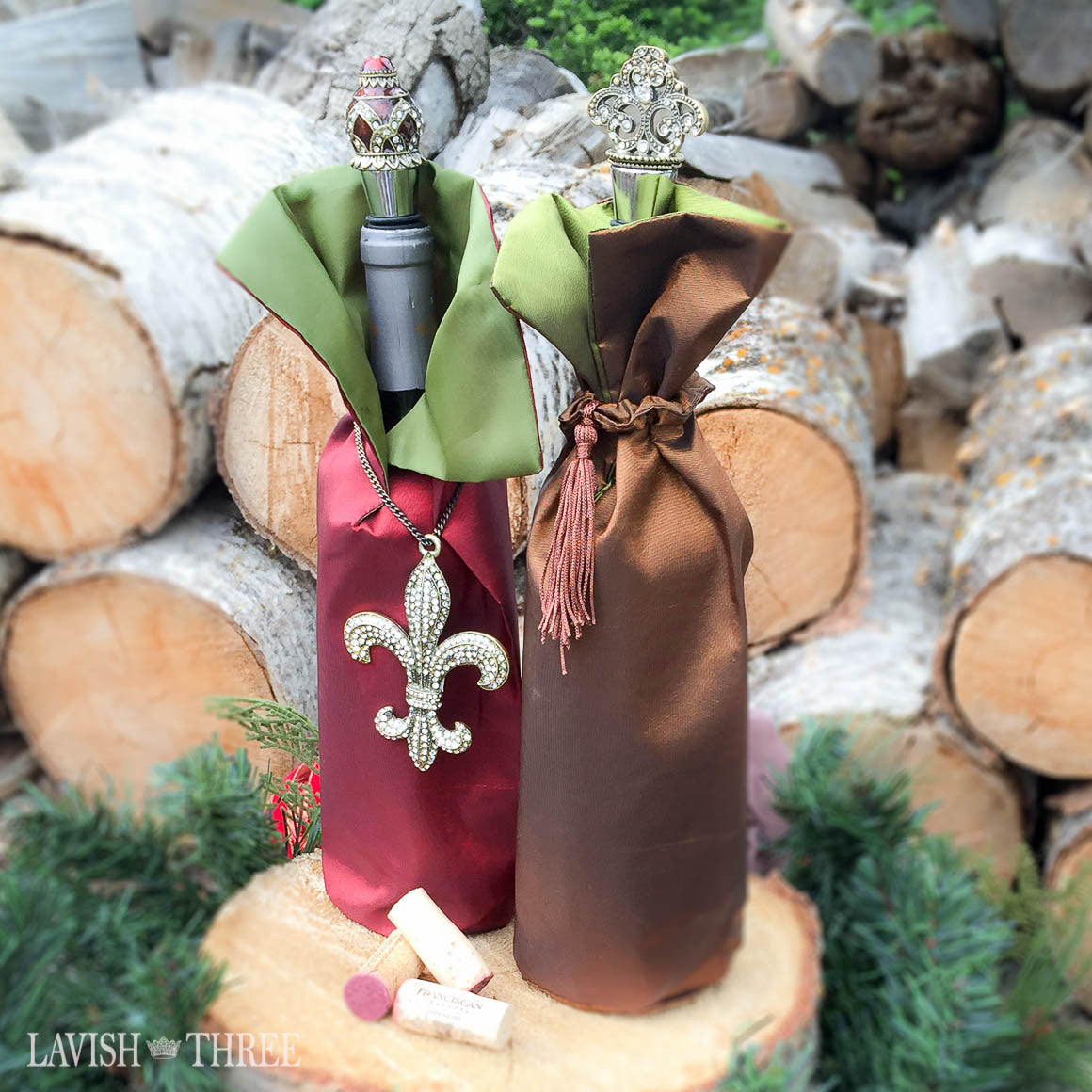 Elegant Fancy Satin bottle gift wrap wine dress bag red brown