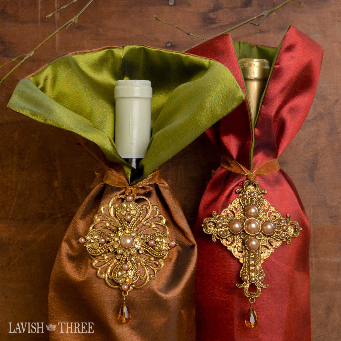 Elegant fancy satin bottle wine dresses, gift bags in copper & merlot