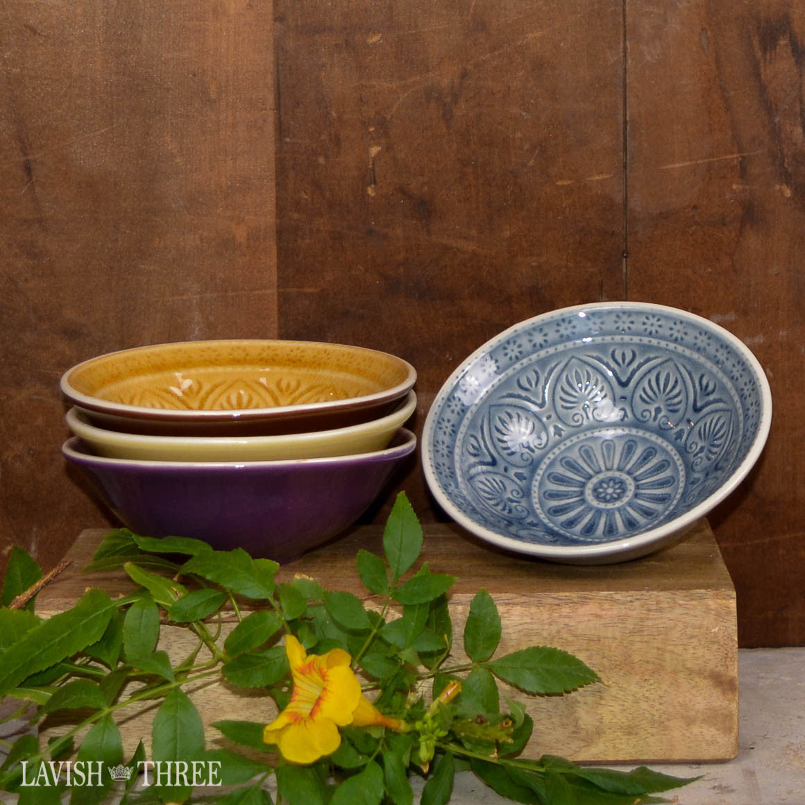 Embossed stoneware eclectic farmhouse country cottage chic bowls