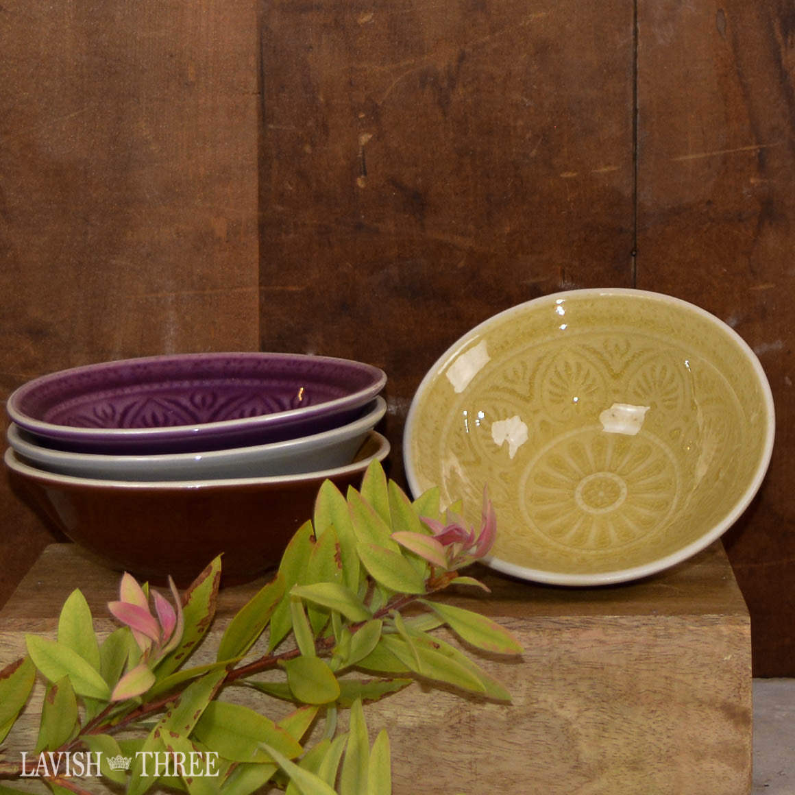 Embossed boho country chic farmhouse eclectic stoneware bowls