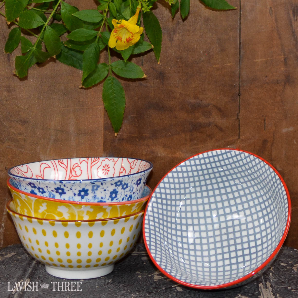 Printed eclectic bowls floral polka dot and pattern lavish three 3