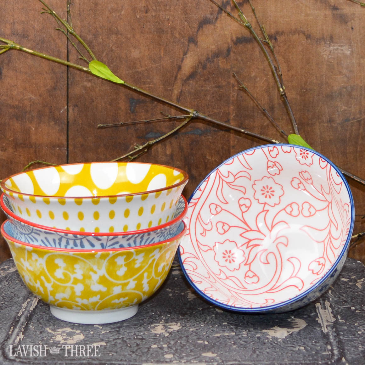 Whimsy printed eclectic bowls colorful pattern design lavish three 3