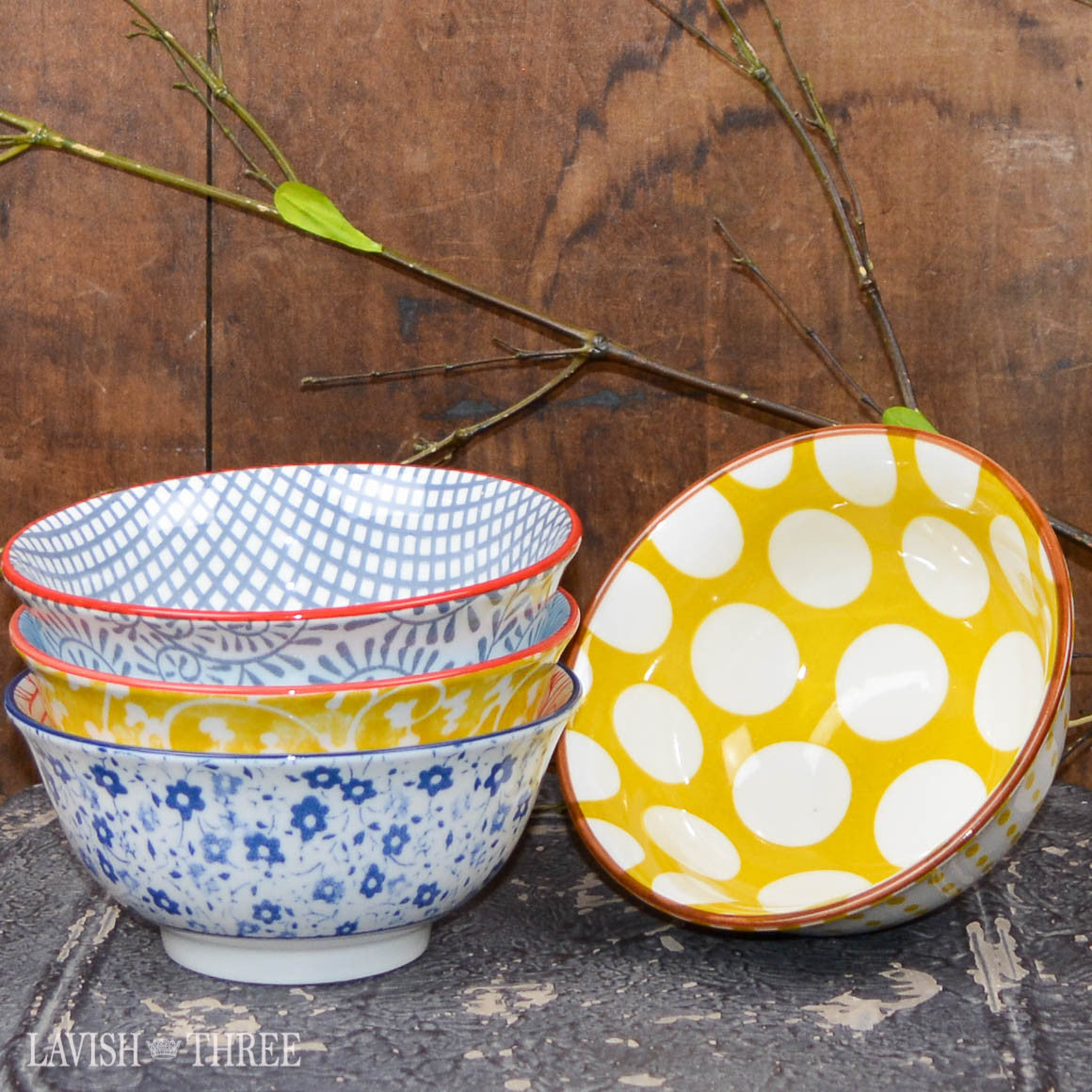 Printed eclectic bowls floral polka dot and pattern