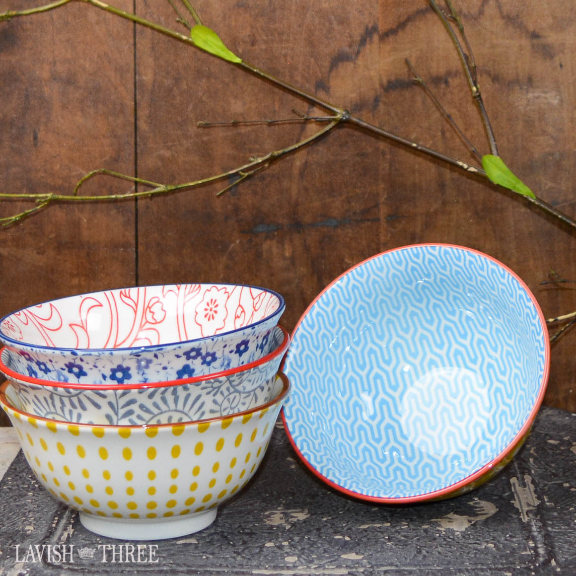 Eclectic cereal bowls polka dot, floral and pattern Lavish three 3
